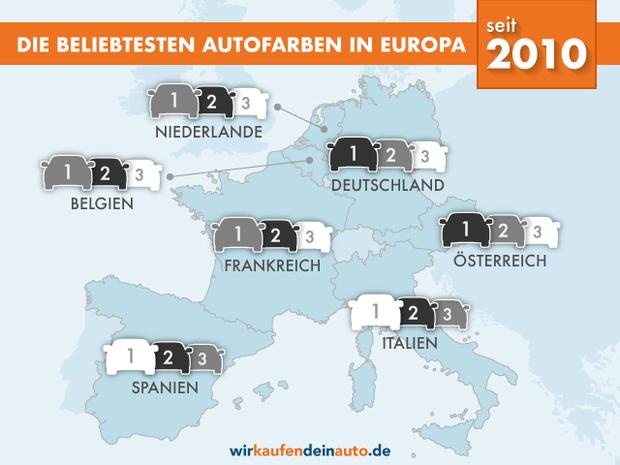Europakarte mit beliebtesten Autofarben von 2010 bis heute