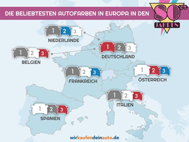 Europakarte mit den beliebtesten Autofarben der 80er Jahre