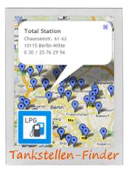 Interaktiver Autogas LPG Tankstellen-Finder