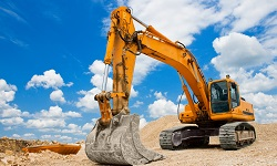 Ein Bagger auf der Baustelle
