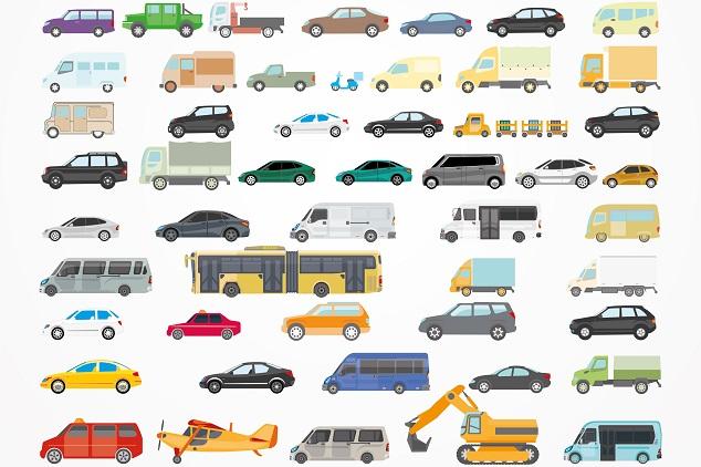 Viele Fahrzeugtypen auf einem Bild