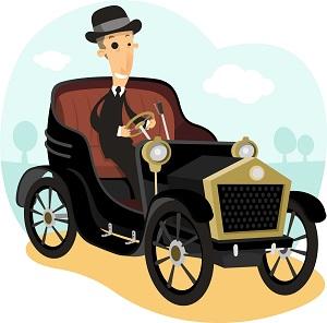 Bunte Illustration eines der ersten Ford-Autos samt Fahrer im Anzug und Hut