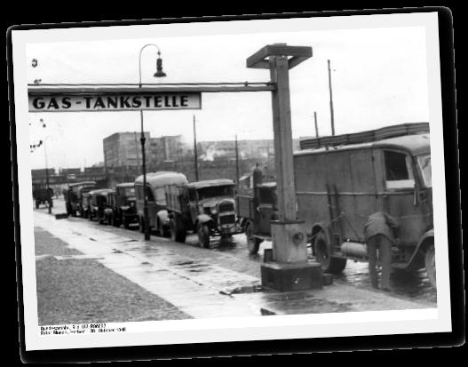 Autogas-Tankstelle in Berlin um 1948