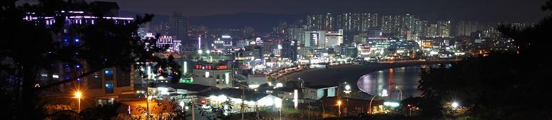 Nachtaufnahme des Industriegebiets in Ulsan, Südkorea mit der Hyundai-Fabrik