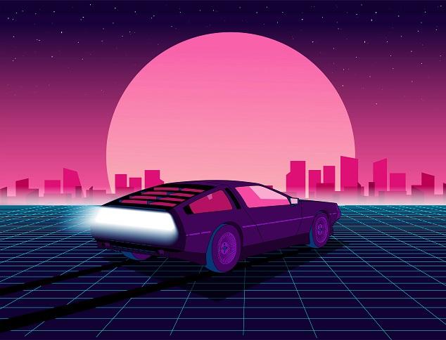 Eine Illustration eines DeLorean im Hintergrund ist ein großer Mond und eine Stadt